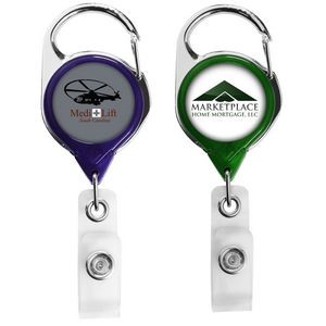 Translucent Carabiner Retractable Badge Reel (Polydome)